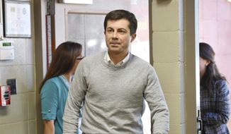 In this March 23, 2019, file photo, South Bend Mayor Pete Buttigieg arrives to speak about his presidential run during the Democratic monthly breakfast at the Circle of Friends Community Center in Greenville, S.C. Buttigieg was the longest of long shots when he announced a presidential exploratory committee in January. But now the underdog bid is gaining momentum, and Buttigieg can feel it.  (AP Photo/Richard Shiro)