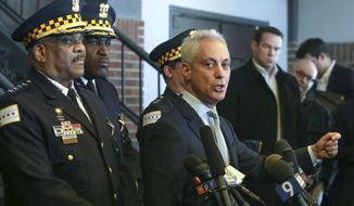 "Chicago Mayor Rahm Emanuel, right, and Chicago Police Superintendent Eddie Johnson appear at a news conference in Chicago, Tuesday, March 26, 2019, after prosecutors abruptly dropped all charges against ""Empire"" actor Jussie Smollett, abandoning the case barely five weeks after he was accused of lying to police about being the target of a racist, anti-gay attack in downtown Chicago. The mayor and police chief blasted the decision and stood by the investigation that concluded Smollett staged a hoax.  (AP Photo/Teresa Crawford)"