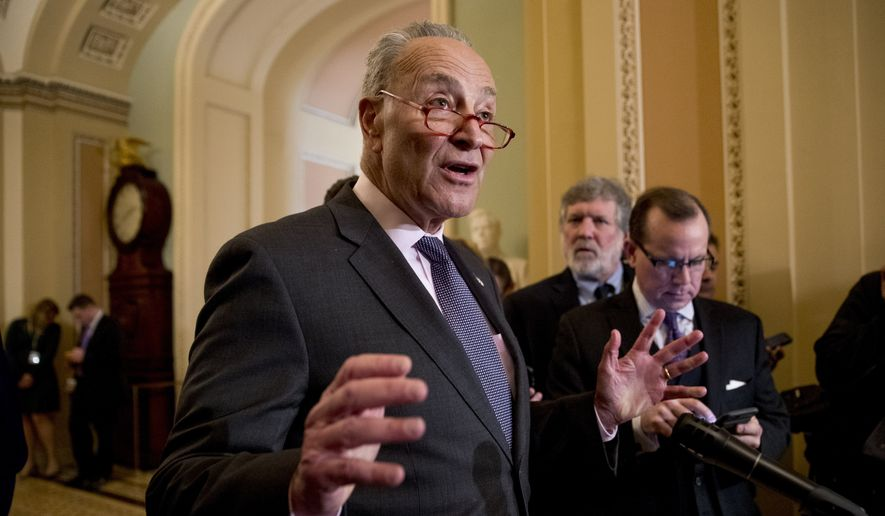 Senate Minority Leader Sen. Chuck Schumer of N.Y., speaks to members of the media following a Senate policy luncheon on Capitol Hill in Washington, Tuesday, March 26, 2019. (AP Photo/Andrew Harnik)
