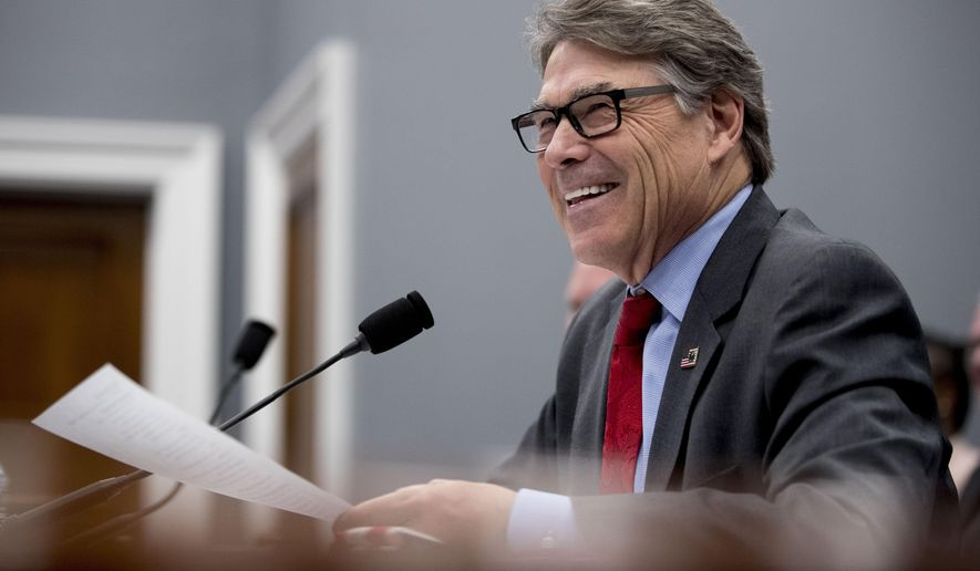 Energy Secretary Rick Perry testifies during a House Appropriations subcommittee hearing on budget on Capitol Hill in Washington, Tuesday, March 26, 2019. (AP Photo/Andrew Harnik)