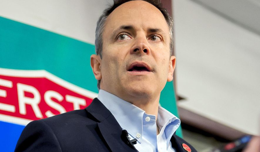 Kentucky Gov. Matt Bevin speaks with the media, Tuesday, March 26, 2019, during an event about the new Interstate 165, formerly William H. Natcher Parkway, at Stryker Logistics in Bowling Green, Ky. (Bac Totrong/Daily News via AP) **FILE**