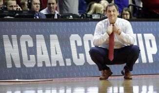 Iowa State head coach Steve Prohm is seen on the sidelines during the second half of a first round men's college basketball game against Ohio State in the NCAA Tournament Friday, March 22, 2019, in Tulsa, Okla. Ohio State won 62-59. (AP Photo/Jeff Roberson)