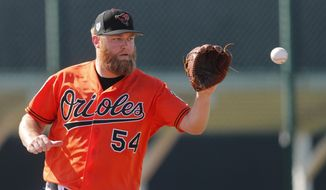 FILE - In this Feb. 15, 2019, file photo, Baltimore Orioles starting pitcher Andrew Cashner works out at their spring training baseball facility, in Sarasota, Fla. Two days before the season opener, the Orioles are already in next-man-up mode. Alex Cobb is on the injured list, so right-hander Andrew Cashner will start Thursday, March 28 at Yankee Stadium. (AP Photo/Gerald Herbert, File)