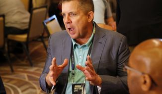 New Orleans Saints head coach Sean Payton speaks to the media during the NFC/AFC coaches breakfast during the annual NFL football owners meetings, Tuesday, March 26, 2019, in Phoenix. (AP Photo/Matt York) ** FILE **