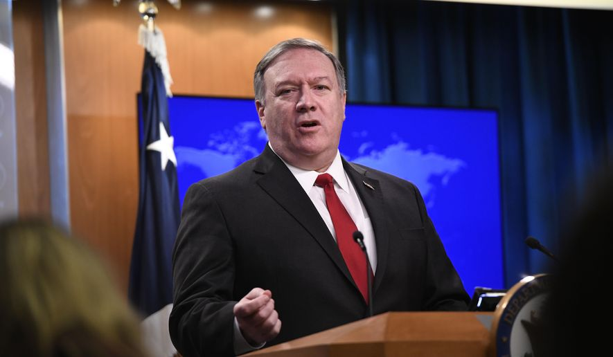 Secretary of State Mike Pompeo answers a question during a news conference on Tuesday, March 26, 2019, at the Department of State in Washington. (AP Photo/Sait Serkan Gurbuz)