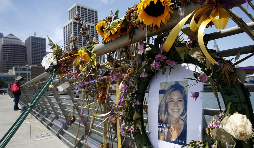 In this July 17, 2015, photo, flowers and a portrait of Kate Steinle remain at a memorial site on Pier 14 in San Francisco. A federal appeals court refused to reinstate a lawsuit the parents of Kate Steinle filed against San Francisco for refusing to cooperate with federal immigration authorities seeking to deport a man later charged with killing Steinle. A three-judge panel of the 9th Circuit Court of Appeals unanimously ruled Monday, March 25, 2019, that the city's non-cooperation policy with federal immigration officials broke no federal, state or local laws. (Paul Chinn/San Francisco Chronicle via AP) **FILE**