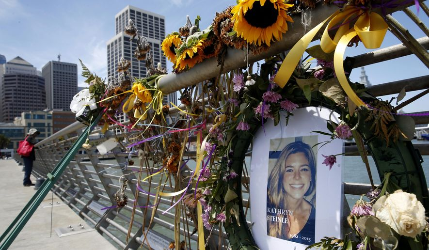 FILE - In this July 17, 2015 file photo, flowers and a portrait of Kate Steinle remain at a memorial site on Pier 14 in San Francisco. A federal appeals court refused to reinstate a lawsuit the parents of Kate Steinle filed against San Francisco for refusing to cooperate with federal immigration authorities seeking to deport a man later charged with killing Steinle. A three judge panel of the 9th Circuit Court of Appeals unanimously ruled Monday, March 25, 2019, that the city's non-cooperation policy with federal immigration officials broke no federal, state or local laws. (Paul Chinn/San Francisco Chronicle via AP, File)