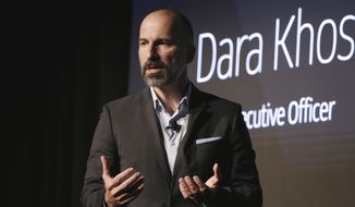 In this Sept. 5, 2018, file photo, Uber CEO Dara Khosrowshahi speaks during the company's unveiling of the new features in New York. (AP Photo/Richard Drew, File)