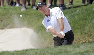 Jim Furyk hits from the bunker on the first hole during the final round of the Valspar Championship golf tournament Sunday, March 24, 2019, in Palm Harbor, Fla. (AP Photo/Mike Carlson)