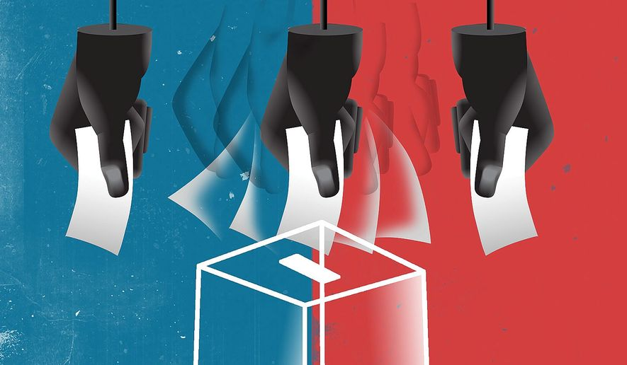 Illustration on proposed changes to voting laws by Linas Garsys/The Washington Times