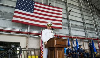 Adm. Philip S. Davidson, U.S. Indo-Pacific Command commander, provides remarks during the Pacific Air Forces (PACAF) assumption of command ceremony at Joint Base Pearl Harbor-Hickam, Hawaii, July 26, 2018. Davidson and Air Force Vice Chief of Staff Gen. Stephen W. Wilson presided over the ceremony in which Brown assumed command of PACAF. Brown now leads U.S. Indo-Pacific Command's air component, delivering airpower across 53 percent of the globe.(U.S. Air Force photo by Staff Sgt. Jack Sanders)