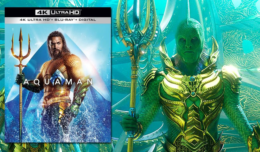 """Jason Momoa as DC Comics hero and the Fisherman King from """"Aquaman,"""" now available on 4K Ultra HD from Warner Bros. Home Entertainment."""