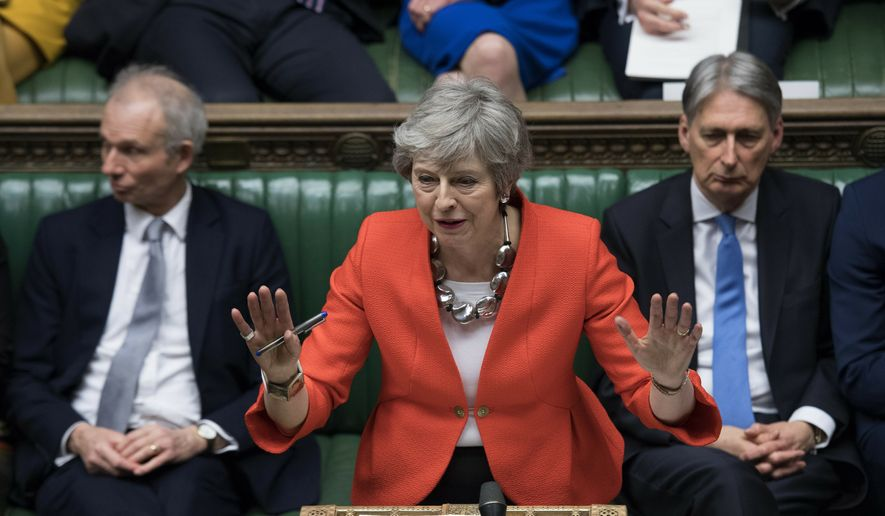 In this Tuesday, March 12, 2019, file photo Britain's Prime Minister Theresa May speaks to lawmakers in parliament, London. (Jessica Taylor/UK Parliament via AP, File)