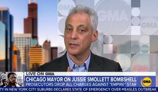 "Chicago Mayor Rahm Emanuel talks about ""Empire"" actor Jussie Smollett on GMA, March 27, 2019. (Image: ABC, ""Good Morning America"" video screenshot)"
