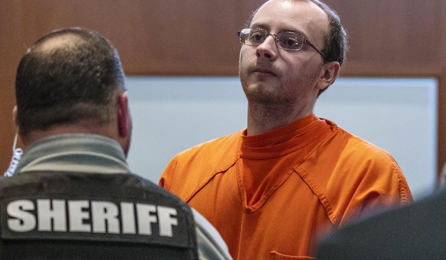 Jake Patterson appears for a hearing at the Barron County Justice Center, Wednesday, March 27, 2019, in Barron, Wis. Patterson pleaded guilty Wednesday to kidnapping 13-year-old Jayme Closs, killing her parents and holding her captive in a remote cabin for three months.  (T'xer Zhon Kha/The Post-Crescent via AP, Pool)