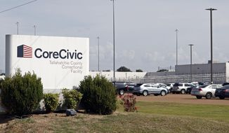 FILE - This Aug. 16, 2018, file photo shows the Tallahatchie County Correctional Facility in Tutwiler, Miss. Shareholders suing private prison operator CoreCivic on Tuesday, March 26, 2019, won class action status for a lawsuit claiming the company inflated stock prices by misrepresenting the quality and value of its services. (AP Photo/Rogelio V. Solis, File)