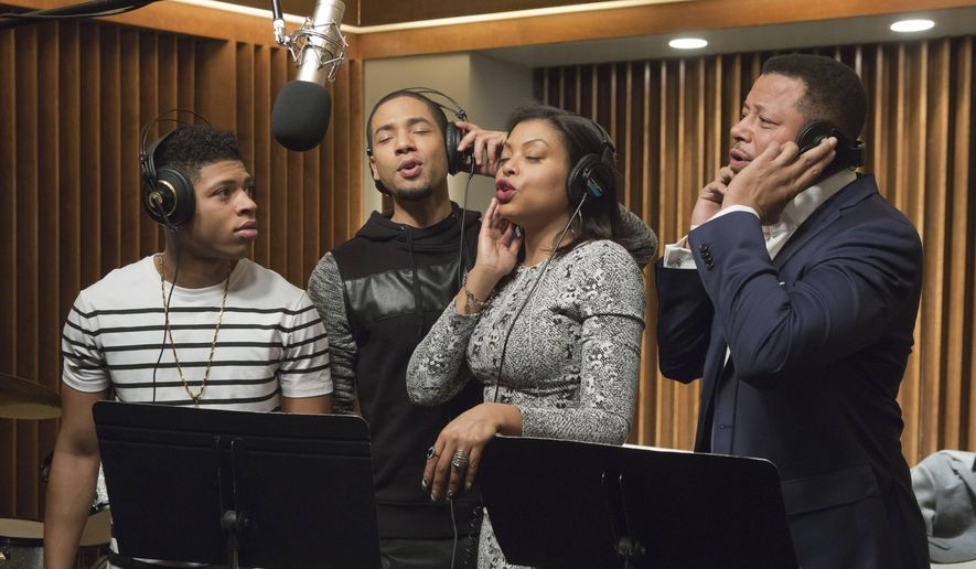 """In this image released by Fox, Bryshere Gray, from left, Jussie Smollett, Taraji P. Henson and Terrence Howard appear in a scene from """"Empire."""" Smollett's career faced mortality after he was arrested and accused of lying about being targeted in a January hate crime attack, and the case's abrupt dismissal hasn't guaranteed the actor's path to professional redemption. (Chuck Hodes/FOX via AP) ** FILE **"""