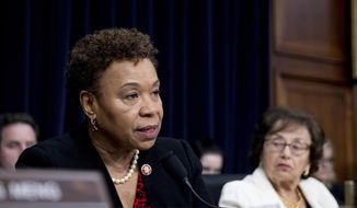 Rep. Barbara Lee, D-Calif., left, accompanied by Chairwoman Nita Lowey, D-N.Y., right, speaks as Secretary of State Mike Pompeo appears before a House Appropriations subcommittee hearing on the budget on Capitol Hill, Wednesday, March 27, 2019, in Washington. (AP Photo/Andrew Harnik) ** FILE **
