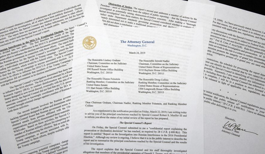 Attorney General William Barr's letter to Congress putting special counsel Robert Mueller's investigation in the past gives President Trump a chance to advance his agenda. (Associated Press/File)