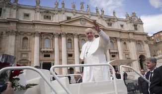 Pope Francis leaves at the end of his weekly general audience, in St. Peter's Square, at the Vatican, Wednesday, March 27, 2019. (AP Photo/Andrew Medichini)