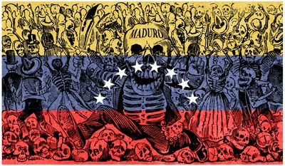 Illustration on the crisis in Venezuela by Alexander Hunter (after Posada)