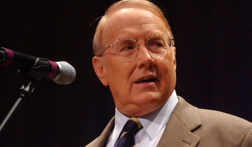 Dr. James Dobson, Founder of the Focus on the Family, talks in this April 24, 2005, file photo, in Louisville, Ky. (AP Photo/Patti Longmire) ** FILE **