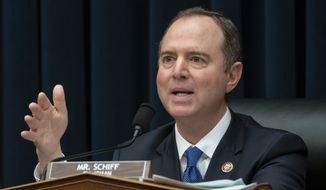 "House Intelligence Committee Chairman Adam Schiff, D-Calif., pushes ahead with their oversight of the Trump administration at a hearing to examine to examine ""Putin's Playbook,"" how the Russian government works to undermine its adversaries, especially the U.S., on Capitol Hill in Washington, Thursday, March 28, 2019. (AP Photo/J. Scott Applewhite)"