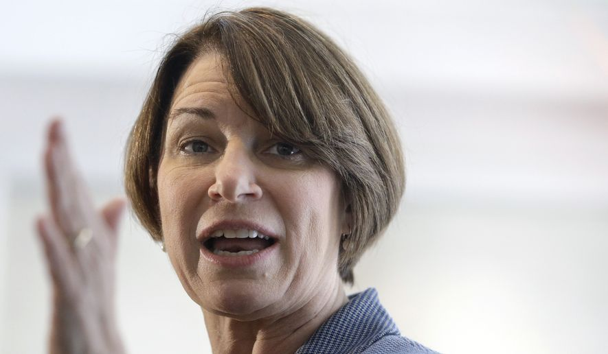 In this Feb. 24, 2019, file photo, Democratic presidential hopeful Sen. Amy Klobuchar, D-Minn., speaks to voters during a campaign stop at a home, in Nashua, N.H. (AP Photo/Steven Senne, File)