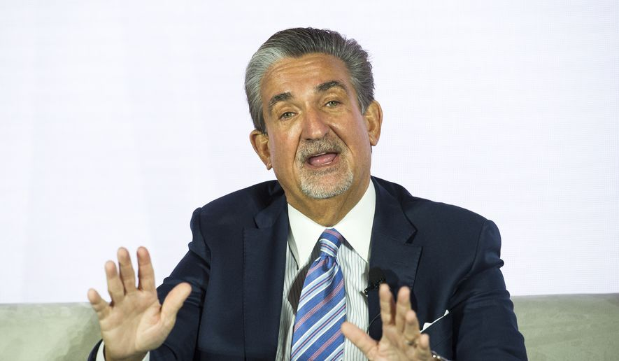Ted Leonsis, owner of the NHL Capitals and NBA Wizards, addresses the American Gaming Association's Sports Betting Executive Summit, at the MGM Grand National Harbor Casino, in Oxon Hill, Md., Wednesday, March 27, 2019. The Supreme Court ruled last May 14 that any state can legalize sports betting if it chooses, and since then the action has been swift. Sports gambling is now legal in eight states, with more than 20 others at least considering legalization. (AP Photo/Cliff Owen) ** FILE **