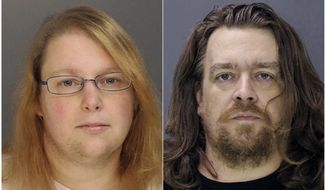 FILE - This combination of file photos provided on Sunday, Jan. 8, 2017, by the Bucks County District Attorney shows Sara Packer, left, and Jacob Sullivan. A jury is considering the death penalty or life in prison for Sullivan in the 2016 rape and murder of 14-year-old Grace Packer, while Grace's mother, Sara Packer, is due to plead guilty, Wednesday, March 27, 2019, to first-degree murder in exchange for a life sentence. (Bucks County District Attorney via AP, File)