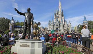 In this Wednesday, Jan. 9, 2019 photo, guests watch a show near a statue of Walt Disney and Micky Mouse in front of the Cinderella Castle at the Magic Kingdom at Walt Disney World in Lake Buena Vista, Fla. Disney is eliminating smoking areas at its theme and water parks in California and Florida. The company said in a statement on Thursday, March 28 that smoking also won't be allowed at the ESPN Wide World of Sports Complex or Downtown Disney in California starting May 1. (AP Photo/John Raoux)