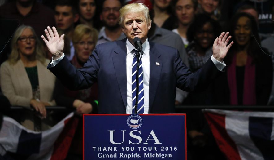 In this Dec. 9, 2016, photo, President-elect Donald Trump speaks to supporters during a rally, in Grand Rapids, Mich. The area around Grand Rapids has been very good to President Donald Trump, helping deliver him to the White House in 2016 with a victory in a blue state he wasn't supposed to win. But as Trump returns to Grand Rapids for a rally Thursday, March 28, 2019, there is cause for Republicans to worry. (AP Photo/Paul Sancya) **FILE**