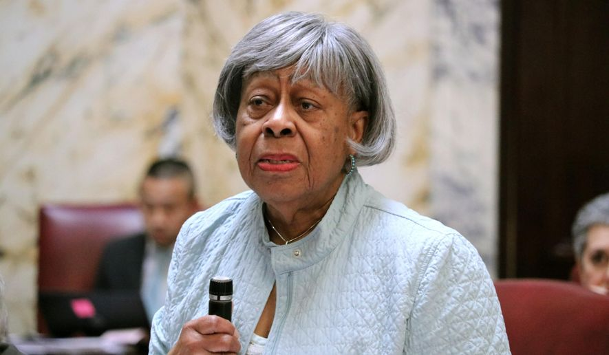 Maryland state Sen. Delores Kelley, a Baltimore County Democrat, urges her colleagues to override Gov. Larry Hogan's veto of a minimum wage increase to $15 an hour by 2025 during a debate on Thursday, March 28, 2019 in Annapolis, Md. The Maryland General Assembly overrode the Republican governor's veto Thursday afternoon. (AP Photo/Brian Witte)