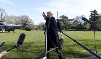 President Trump talks to reporters before leaving on Marine One on the South Lawn of the White House in Washington, Thursday, March 28, 2019, for the short trip to Andrews Air Fore Base in Maryland. Trump is traveling to Michigan to speak at a rally before spending the weekend at his Mar-a-Lago estate in Florida. (AP Photo/Susan Walsh)