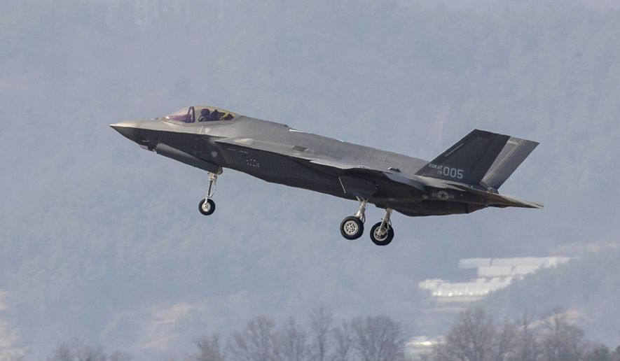 A U.S. made F-35A fighter jet prepares to land at Cheongju Air Base in Cheongju, South Korea, Friday, March 29, 2019. South Korea on Friday received the first two of the 40 F-35A fighter jets that it has agreed to buy from Lockheed Martin by 2021. The F-35A jets that arrived at the airport in southern South Korea have become the country's first stealth fighter jets. North Korea has previously called the introduction of F-35A aircraft a plot by Seoul to attack North Korea. (Jin Sung-chul/Yonhap via AP)