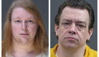 This combination of undated photos provided by the Bucks County District Attorney's Office on Friday, March 29, 2019 shows Sara Packer, left, and Jacob Sullivan. On Friday, March 29, 2019, Packer, who plotted the rape, torture and murder of her own teenage daughter pleaded guilty and was sentenced to life in prison. On Thursday, Sullivan pleaded guilty to first-degree murder and related offenses and was sentenced to death. (Bucks County District Attorney's Office via AP)