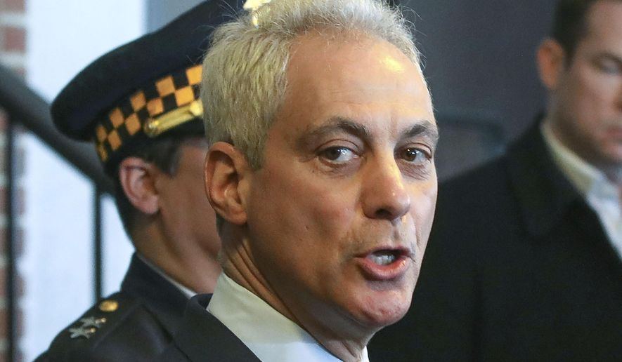 In this March 26, 2019, file photo, Chicago Mayor Rahm Emanuel appears at a news conference in Chicago. (AP Photo/Teresa Crawford, File)