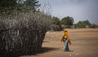 FILE - In this Tuesday, Dec. 19, 2017 file photo, a Somali refugee girl walks past the fence surrounding a hut at Dadaab refugee camp, hosting over 230,000 inhabitants, in northern Kenya. An internal United Nations document obtained by The Associated Press on Friday, March 29, 2019 says Kenya again seeks to close the Dadaab camp that hosts more than 200,000 refugees from neighboring Somalia. (AP Photo/Ben Curtis, File)
