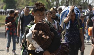 Central American migrants, part of the caravan hoping to reach the U.S. border, move on a road in Tapachula, Chiapas State, Mexico, Thursday, March 28, 2019. A caravan of about 2,500 Central Americans and Cubans is currently making its way through Mexico's southern state of Chiapas. (AP Photo/Isabel Mateos) ** FILE **
