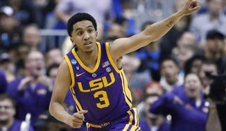 LSU guard Tremont Waters gestures after scoring against Michigan State during the second half of a semifinal in the NCAA men's college basketball tournament East Regional in Washington, Friday, March 29, 2019. (AP Photo/Patrick Semansky) ** FILE **