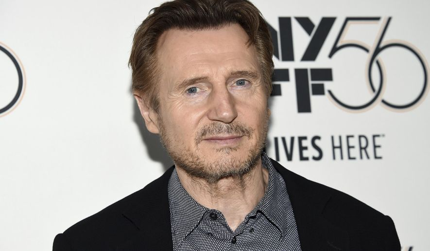 """This Oct. 4, 2018 file photo shows actor Liam Neeson at the premiere for """"The Ballad of Buster Scruggs"""" during the 56th New York Film Festival in New York. (Photo by Evan Agostini/Invision/AP, File)"""