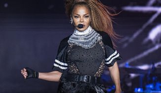 FILE - In this July 8, 2018 file photo, Janet Jackson performs at the 2018 Essence Festival in New Orleans. Jackson will join Def Leppard, Stevie Nicks, Radiohead, the Cure, Roxy Music and the Zombies as new members of the Rock and Roll Hall of Fame at the 34th induction ceremony on Friday, March 29 at Barclays Center in New York. (Photo by Amy Harris/Invision/AP, File)