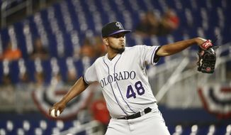 Colorado Rockies starting pitcher German Marquez delivers during the first inning of a baseball game against the Miami Marlins on Friday, March 29, 2019, in Miami. (AP Photo/Brynn Anderson)