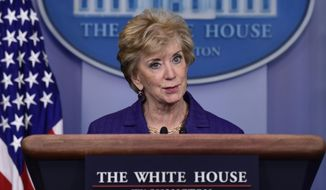 FILE - In this Oct. 3, 2018, file photo, Small Business Administrator Linda McMahon speaks during a briefing at the White House in Washington. (AP Photo/Susan Walsh, File)