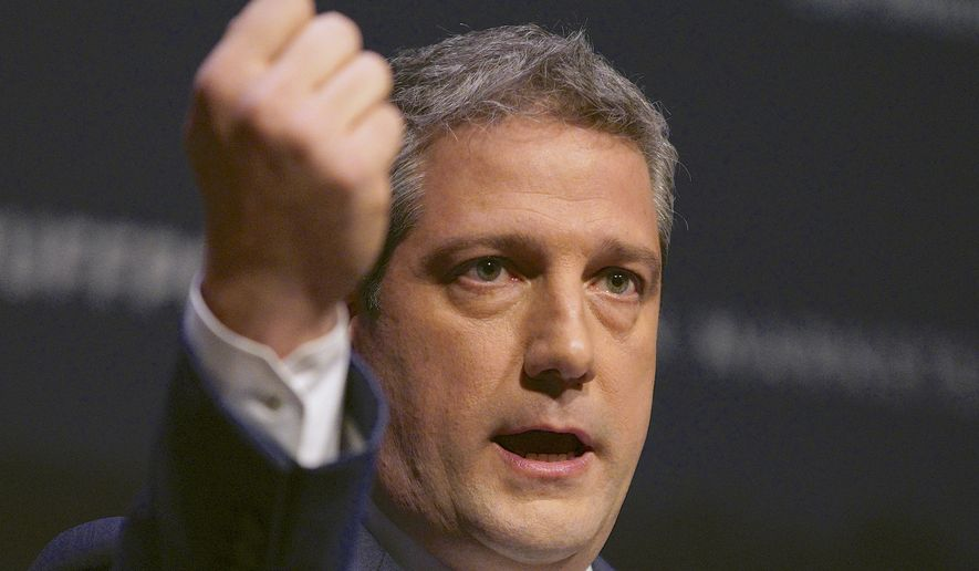 Rep. Tim Ryan, D-Ohio, speaks at the Heartland Forum held on the campus of Buena Vista University in Storm Lake, Iowa, Saturday, March 30, 2019. (AP Photo/Nati Harnik)
