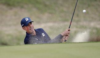 Matt Kuchar plays a shot from a bunker on the seventh hole during quarterfinal play at the Dell Technologies Match Play Championship golf tournament, Saturday, March 30, 2019, in Austin, Texas. Kuchar defeated Sergio Garcia. (AP Photo/Eric Gay)