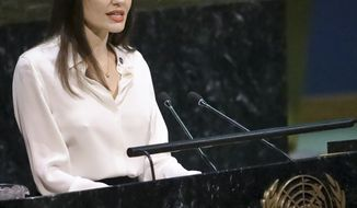 Angelina Jolie, United Nations High Commissioner for Refugees specialenvoy, address a meeting on U.N. peacekeeping at U.N. headquarters, Friday March 29, 2019. (AP Photo/Bebeto Matthews)