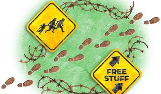 Free Stuff Army Approaches Illustration by Greg Groesch/The Washington Times