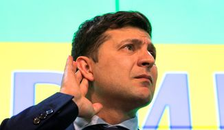 """""""A new lie, a normal life is starting,"""" Ukrainian comedian Volodymyr Zelenskiy said on Sunday. """"A lie without corruption, without bribes."""" Mr. Zelenskiy is in an election runoff with President Petro Poroshenko. (Associated Press)"""