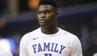 Duke forward Zion Williamson on the court warming up before the start of a NCAA men's East Regional final college basketball game against Michigan State in Washington, Sunday, March 31, 2019. (AP Photo/Patrick Semansky)